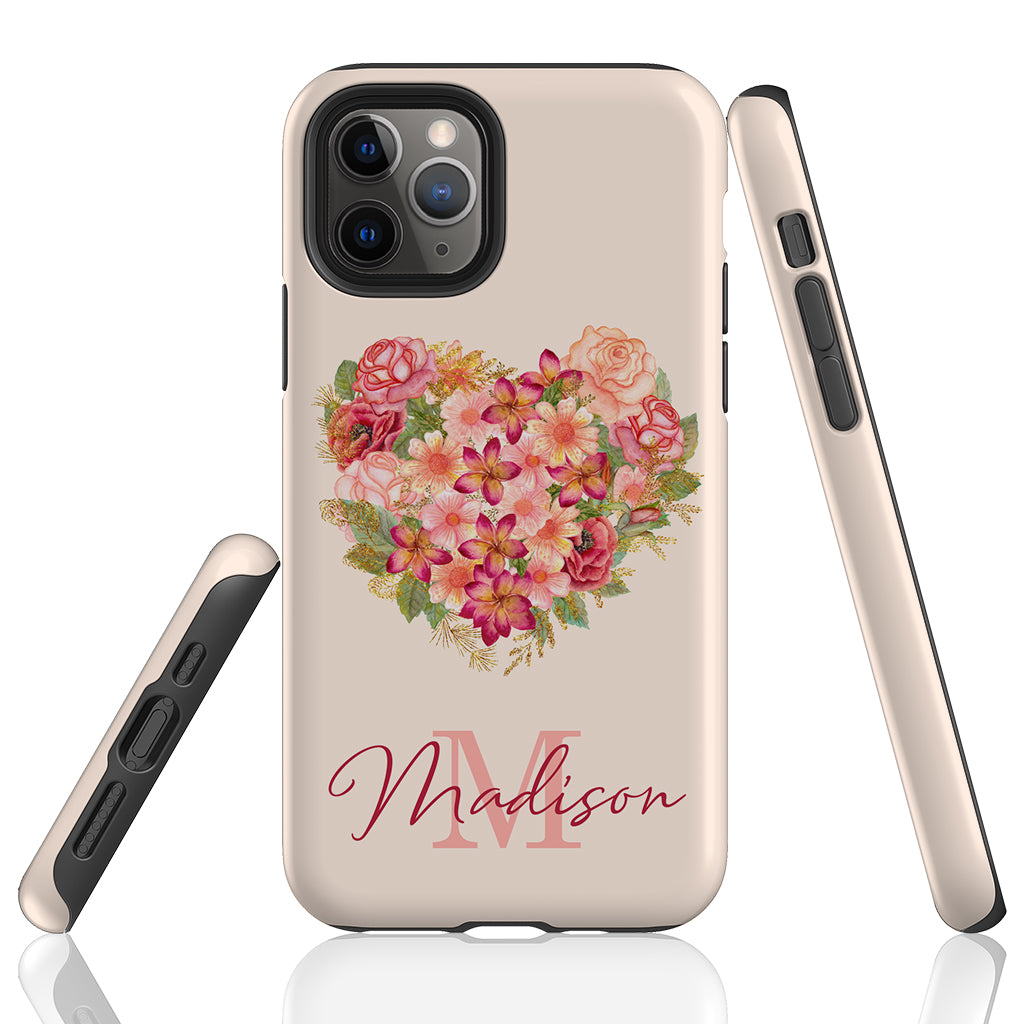 Floral Heart Personalized Phone Case