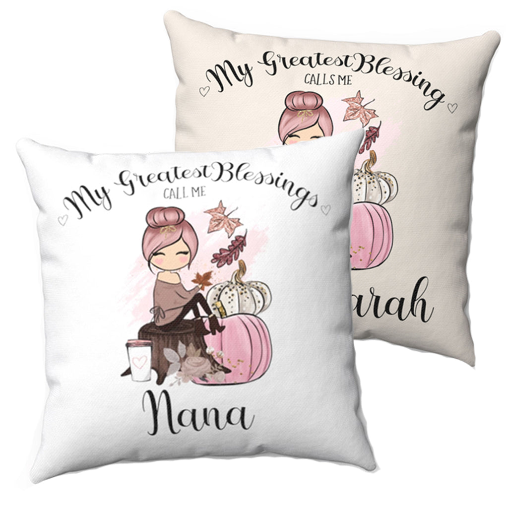 My Greatest Blessings Personalized Pillow - Pink Pumpkin