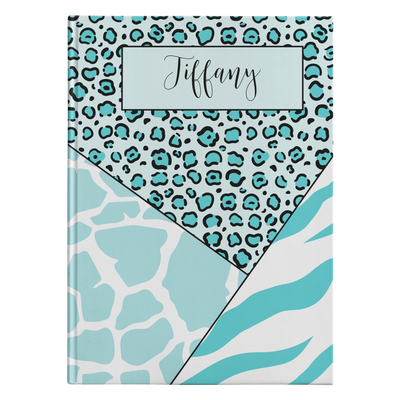 Mixed Animal Stripes Personalized Journal - Teal