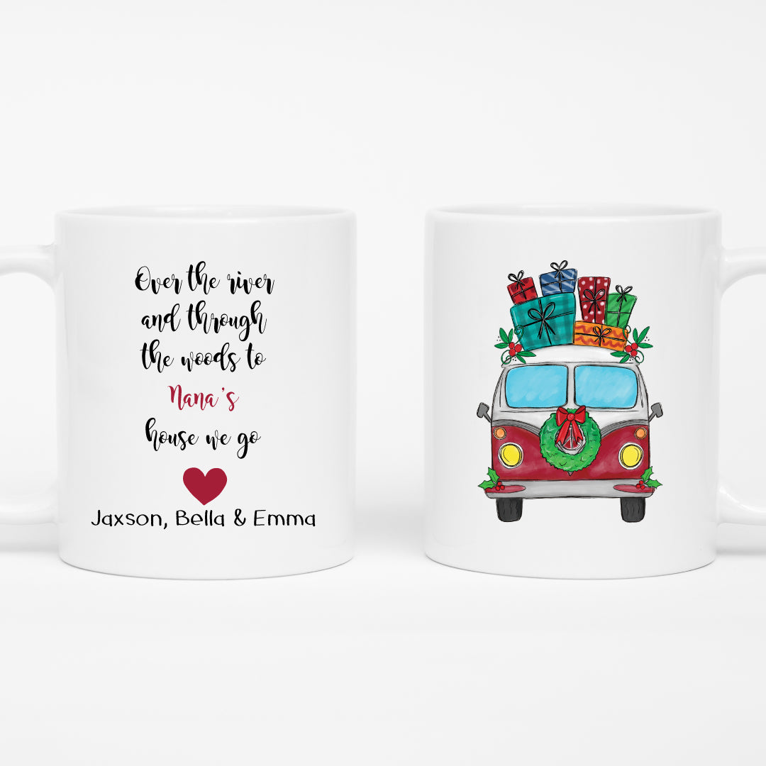 Over the River Personalized Christmas Mug