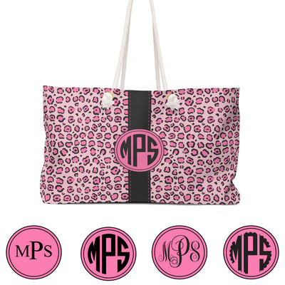 Personalized Pink Leopard Tote Monogram Styles
