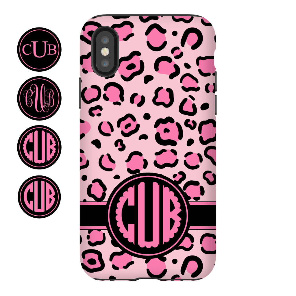 Pink Leopard Monogram Phone Case