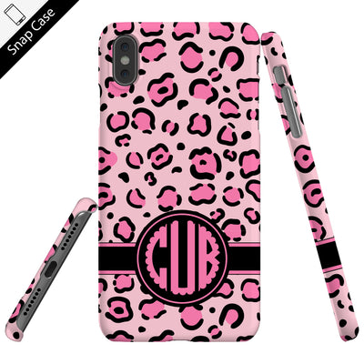 Personalized Pink Leopard Monogram Phone Case - Snap