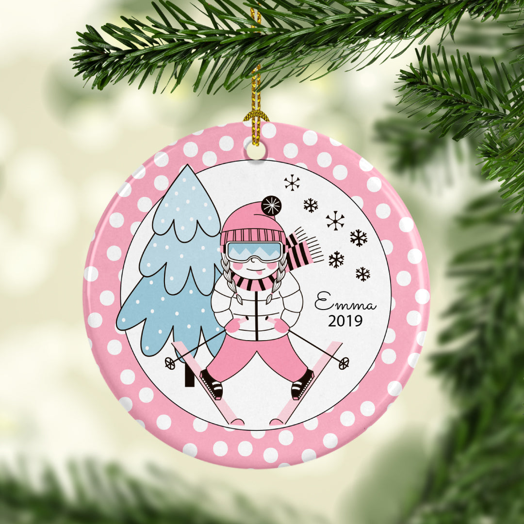 Personalized Ski Girl Christmas Ornament