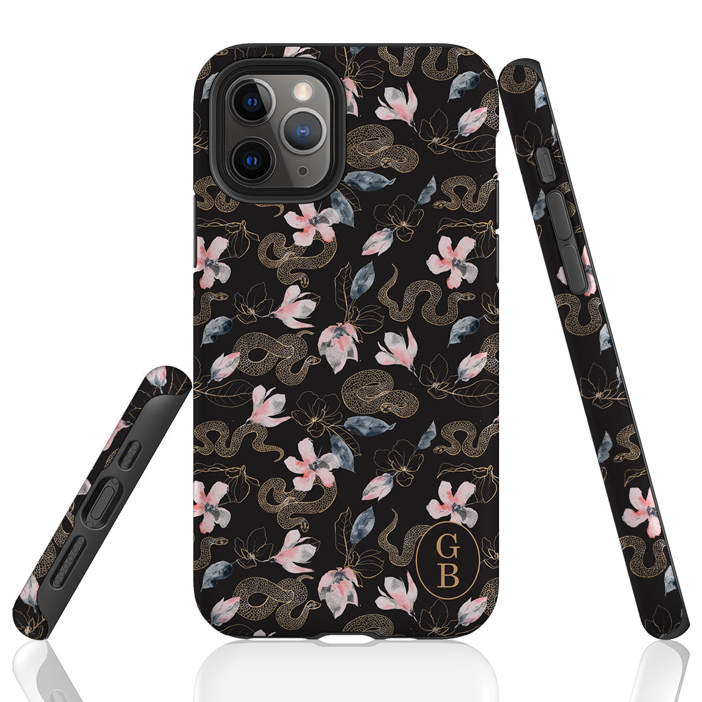 Snakes n Flowers Monogram Phone Case