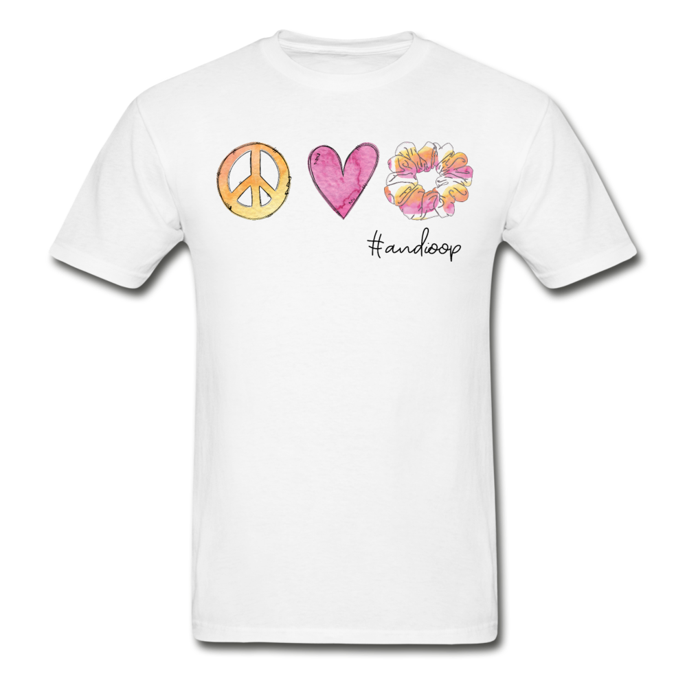 Peace Love Scrunchie Custom Tee - white