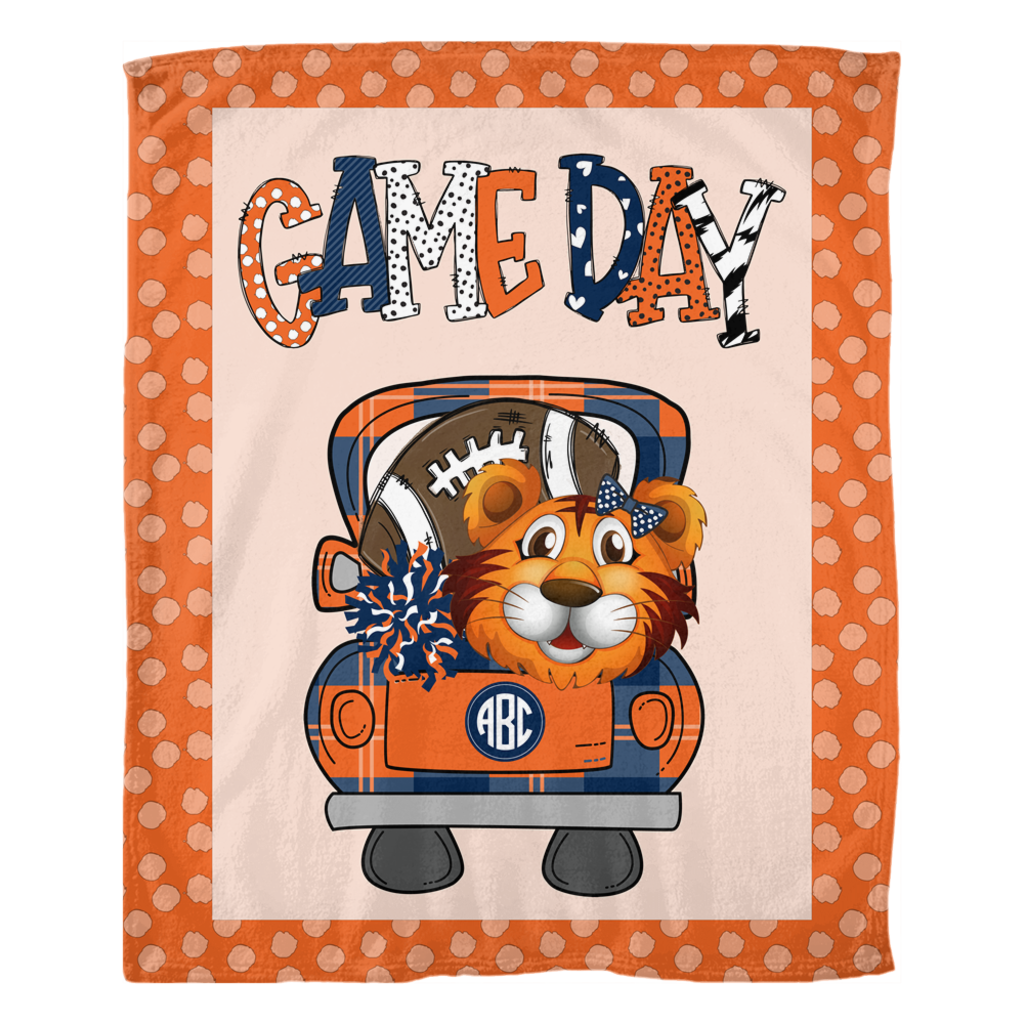 Tiger Football Personalized Fleece Blanket