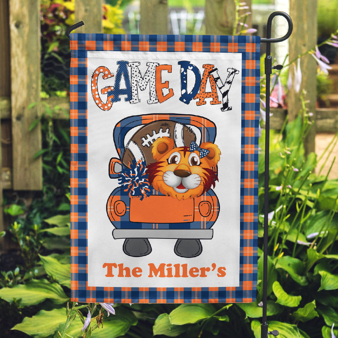 Tiger Football Game Day Personalized Garden Flag