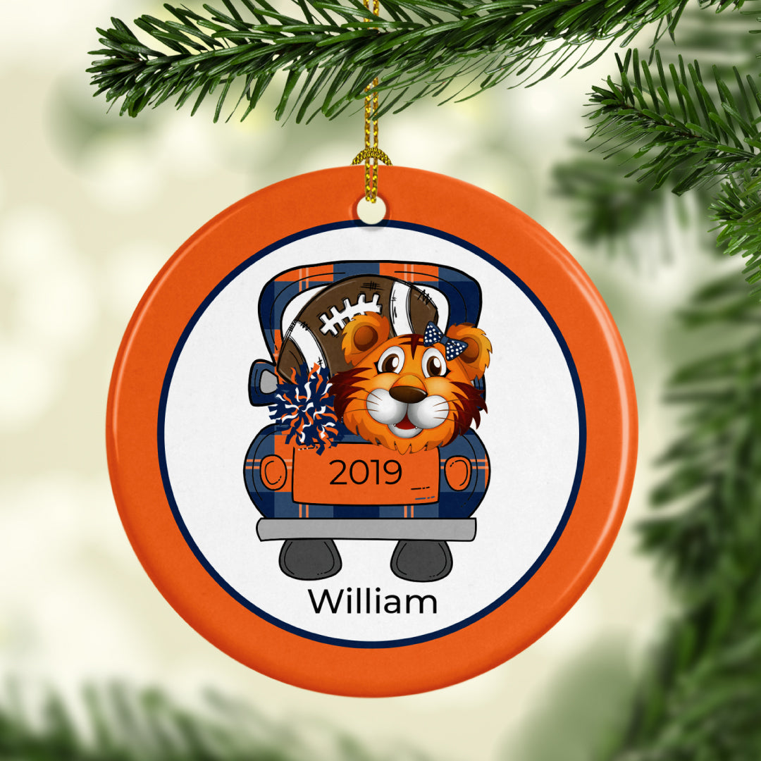 Tiger Football Name and Date Personalized Ornament