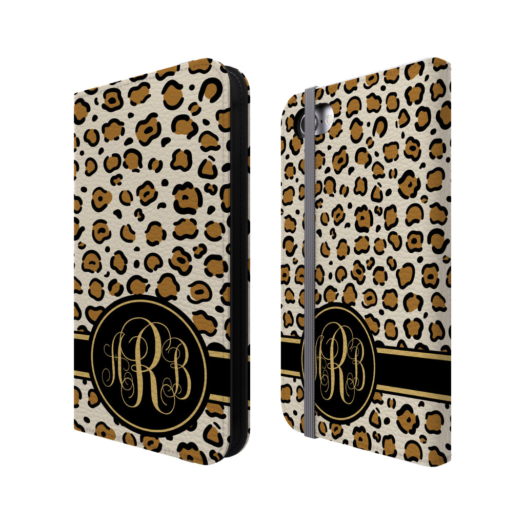Personalized Leopard Folio Wallet Case