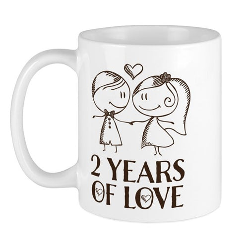 2 Years of Love Anniversary Chalk Couple Coffee Mug