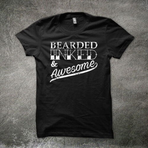 BEARDED INKED AND AWESOME FATHERS DAY T SHIRT