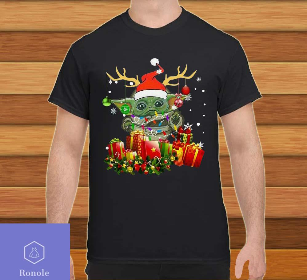 Baby Yoda Reindeer light Christmas Shirt