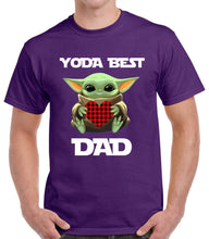 Load image into Gallery viewer, Baby Yoda Hugging Heart Yoda Best Dad T-shirt