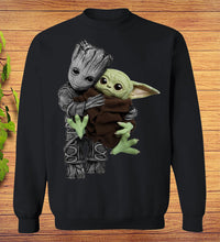 Load image into Gallery viewer, Baby Groot Hugging Baby Yoda SweatShirt Funny Star Wars Mixed Fan Gift
