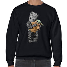 Load image into Gallery viewer, Baby Groot hug Baby Yoda Mandalorian SweatShirt