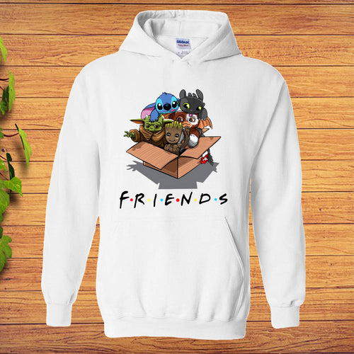 Baby Yoda Baby Groot and Toothless Stitch Gizmo Friends Hoodie Kids Adult Size