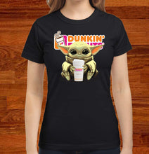 Load image into Gallery viewer, Baby Yoda Hug Dunkin' Donuts T-Shirt