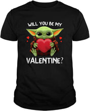 Load image into Gallery viewer, Baby Yoda Hug Heart Will You Be My Valentine Buffalo Plaid T-Shirt