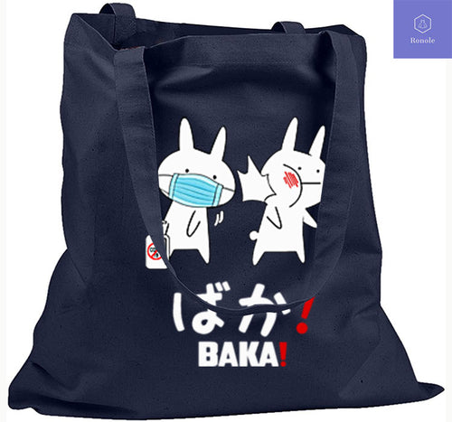 Baka Rabbit Slap Mask Covid-19 Print Tote Bag