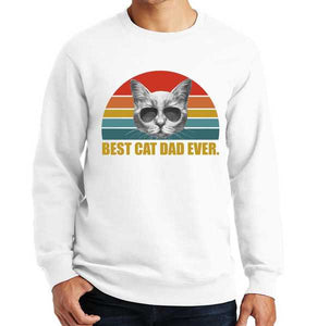 Best Cat Dad Ever Retro Sunset Sweatshirt