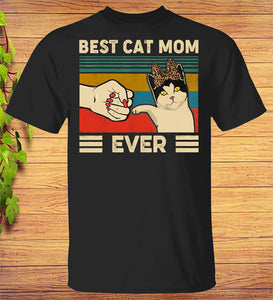 Best Cat Mom Ever T-Shirts Funny Cat Mom Mother Retro Vintage