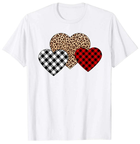 Best Gift Valentine's day T-Shirt Three Hearts Leopard Buffalo Plaid