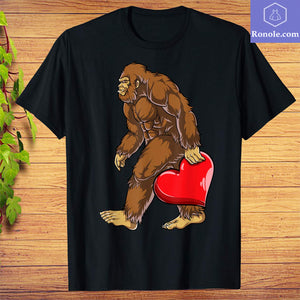 Bigfoot Heart Funny Valentines Day Men Love Sasquatch Gifts T-Shirt