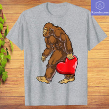 Load image into Gallery viewer, Bigfoot Heart Funny Valentines Day Men Love Sasquatch Gifts T-Shirt