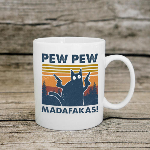 Black Cat Pew Pew Madafakas Funny Cat Gangster With Gun Vintage Coffee Mug