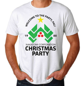 Die Hard Christmas Party Nakatomi Plaza 80's Action Movie Funny White T Shirt