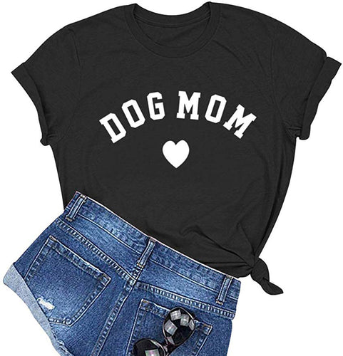 Dog Mom Graphic Cute T-Shirt Funny Cotton