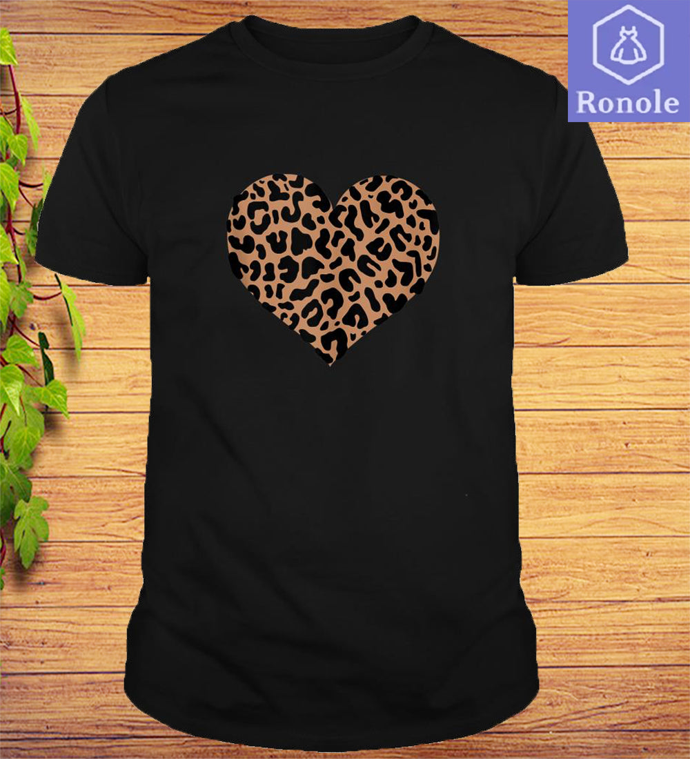 Leopard Animal Print Heart Valentines Day T-Shirt