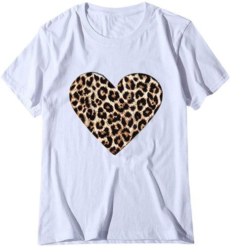 Leopard Print Heart Shirt Top T-Shirt Gift Ideas for Valentine Day