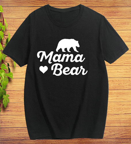 Mama Bear Love Design Short Sleeve Cotton T-shirt