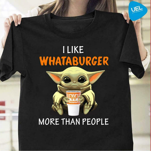 Official Baby Yoda I Like Whataburger More Than People T-Shirt