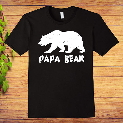 Papa Bear Funny Matching T-Shirt for Dad Fathers Day, Great Gift Idea