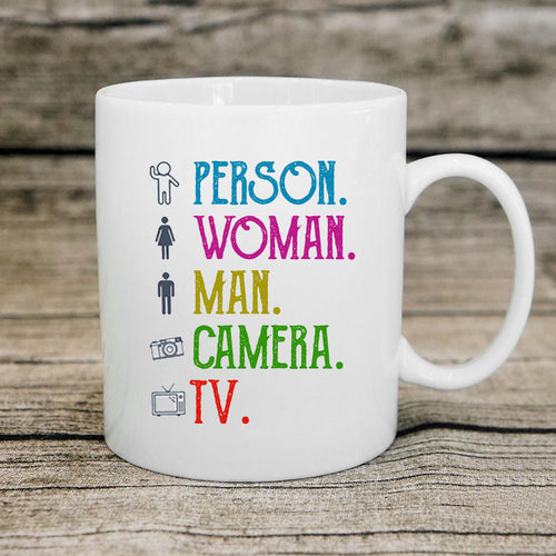 Person Woman Man Camera TV Trump Cognitive Test Coffee Mug