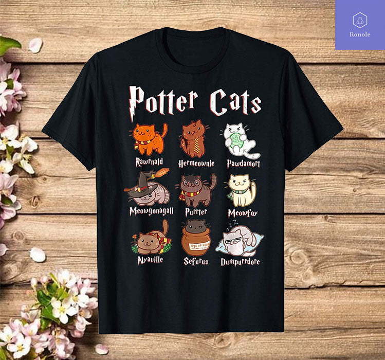 Potter Cats Funny gift for Cat Lovers T-Shirt