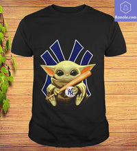 Load image into Gallery viewer, Star W-a-r-s Baby Yoda hug New York Yankees T-shirt