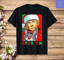 Load image into Gallery viewer, Grab' Em Donald Trump Santa Christmas with Cat Retro T-Shirt