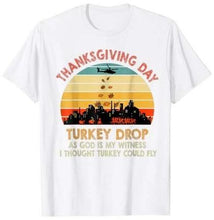 Load image into Gallery viewer, WKRP Turkey Drop Thanksgiving Gift, Turkey Running Funny T-Shirt