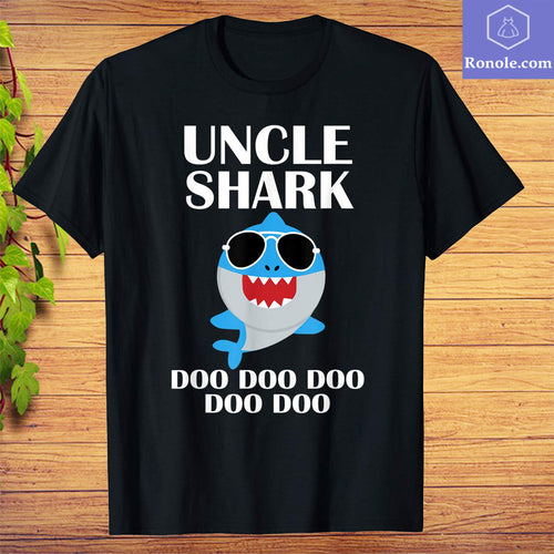 Uncle Shark Shirt Doo Doo Doo Funny Uncle Valentines Day T-Shirt