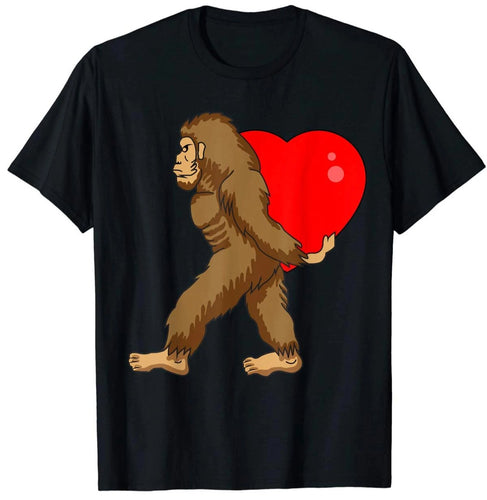 Bigfoot Carry Big Heart Funny Valentines Day T-shirt