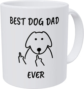 Wampumtuk Flipping Fingers Best Dog Dad Ever Funny Coffee Mug