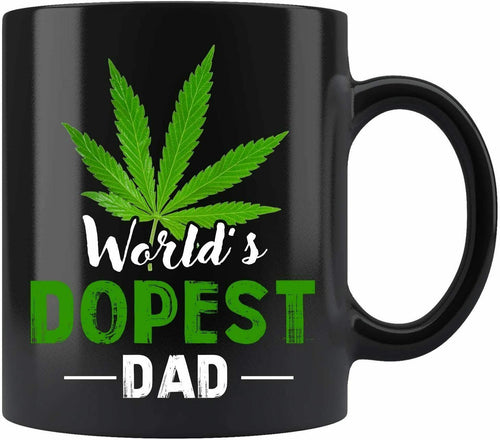 World's Dopest Dad Weed Marijuana Leaf Mug