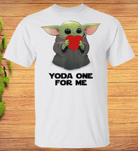 Load image into Gallery viewer, Yoda One For Me Baby Yoda Hugs Heart Star Wars Valentine T-Shirt
