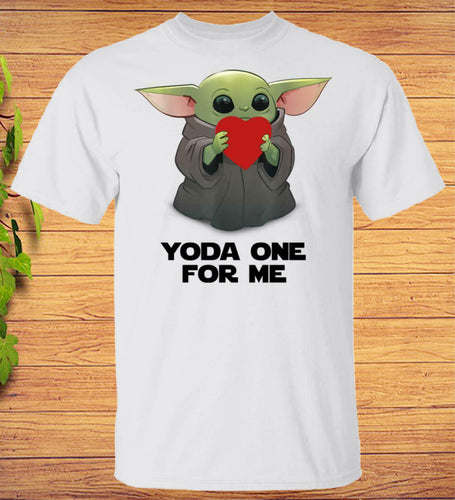 Yoda One For Me Baby Yoda Hugs Heart Star Wars Valentine T-Shirt