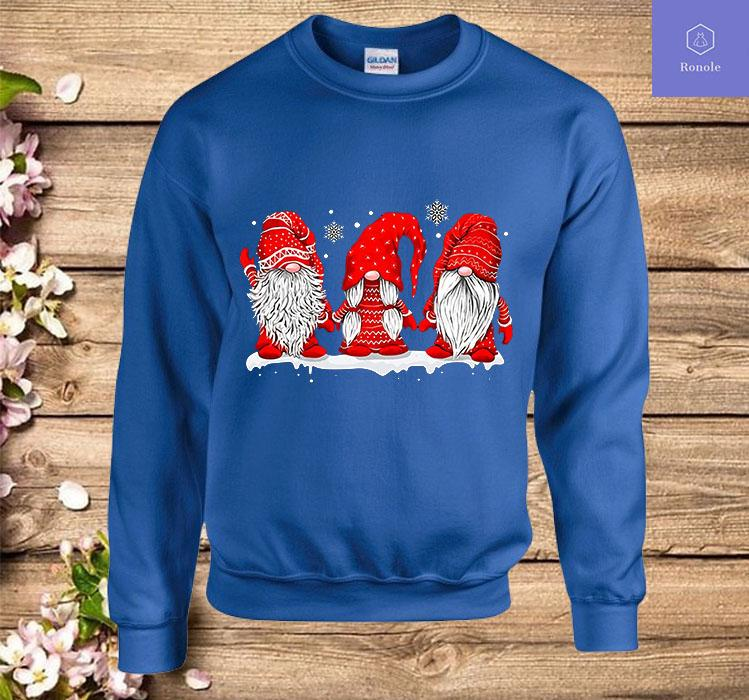 Three Gnomes In Red Costume Christmas Gift X-mas Funny Sweatshirt