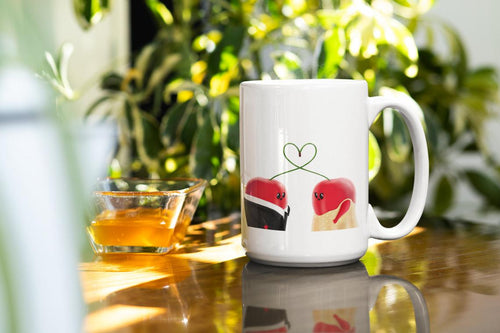 Couple Cherries in Love Heart Coffee Mug